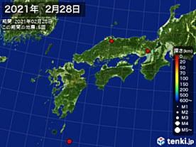 2021年02月28日の震央分布図