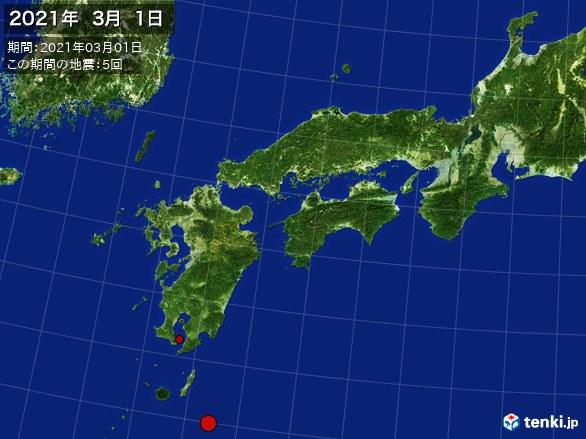 西日本・震央分布図(2021年03月01日)