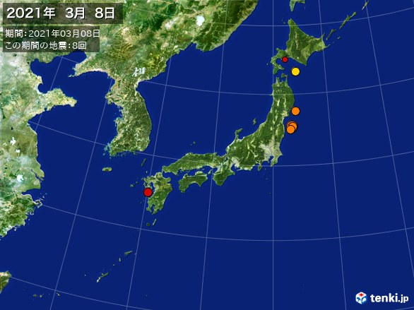 日本全体・震央分布図(2021年03月08日)