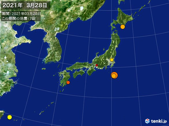 日本全体・震央分布図(2021年03月28日)