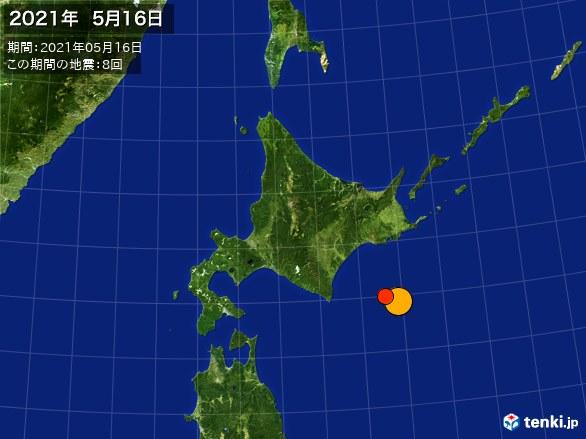 北日本・震央分布図(2021年05月16日)