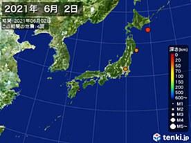 2021年06月02日の震央分布図