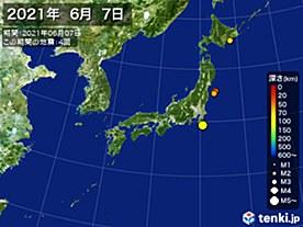 2021年06月07日の震央分布図