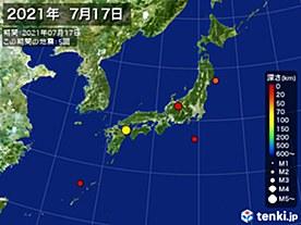2021年07月17日の震央分布図