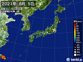 2021年08月05日の震央分布図