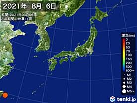 2021年08月06日の震央分布図