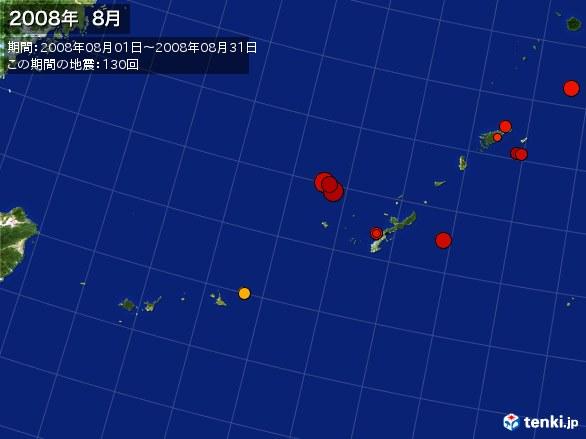 沖縄・震央分布図(2008年08月)