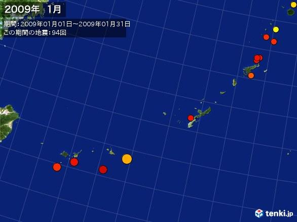 沖縄・震央分布図(2009年01月)
