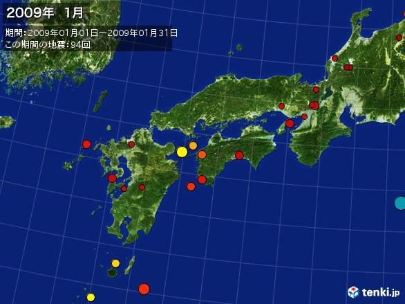 西日本・震央分布図(2009年01月)