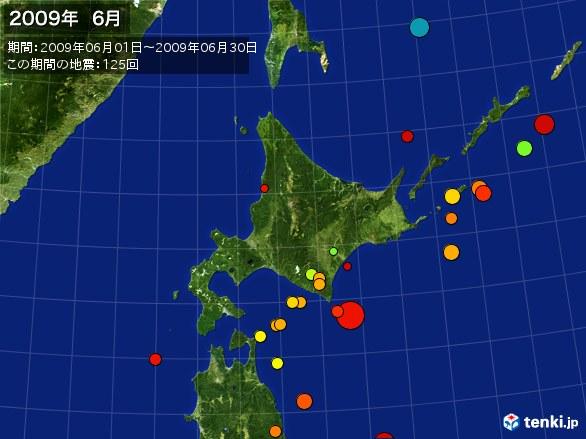 北日本・震央分布図(2009年06月)