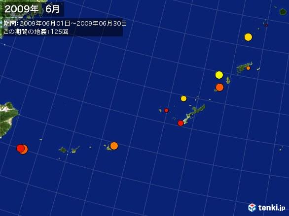 沖縄・震央分布図(2009年06月)