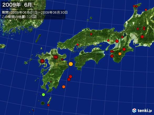 西日本・震央分布図(2009年06月)
