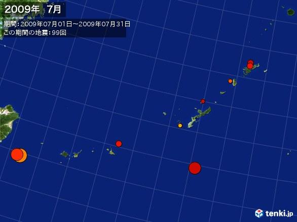 沖縄・震央分布図(2009年07月)