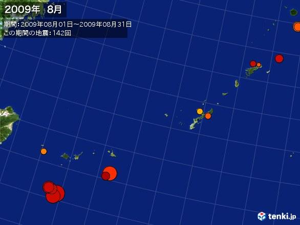 沖縄・震央分布図(2009年08月)
