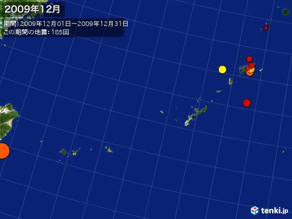 沖縄・震央分布図(2009年12月)