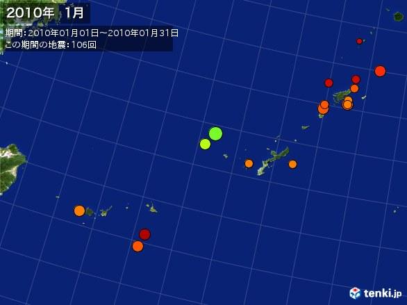 沖縄・震央分布図(2010年01月)