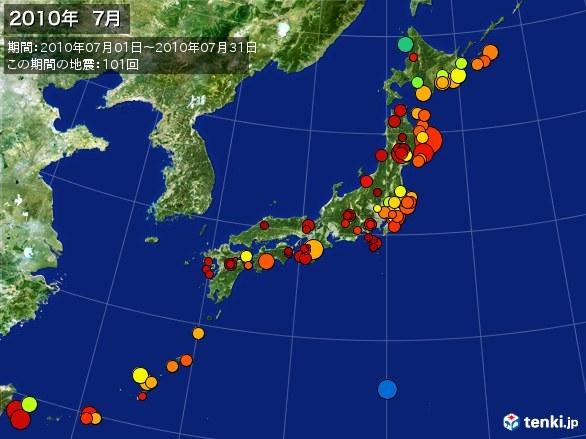 日本全体・震央分布図(2010年07月)