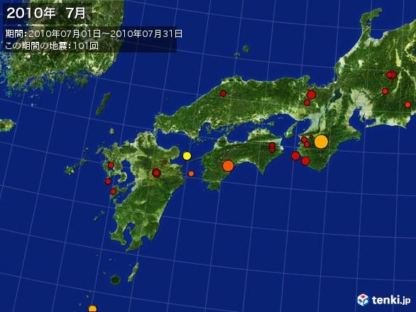 西日本・震央分布図(2010年07月)