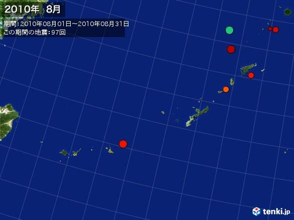 沖縄・震央分布図(2010年08月)