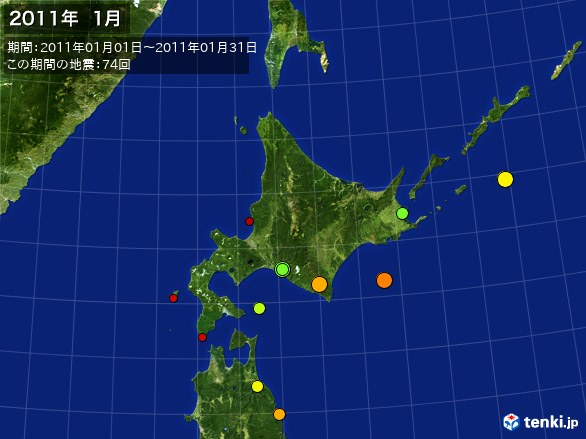 北日本・震央分布図(2011年01月)