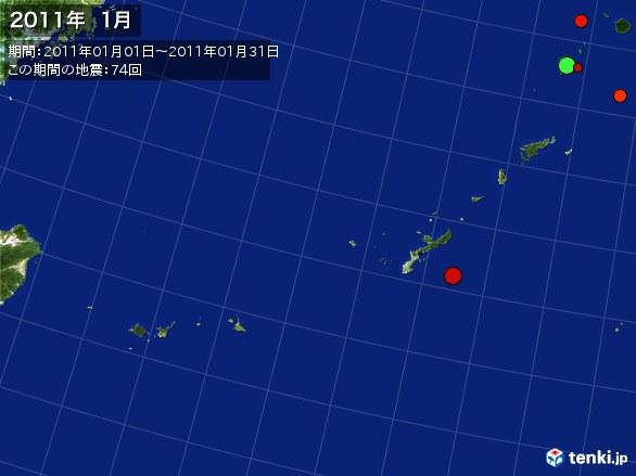 沖縄・震央分布図(2011年01月)