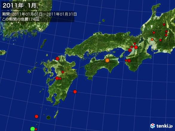 西日本・震央分布図(2011年01月)