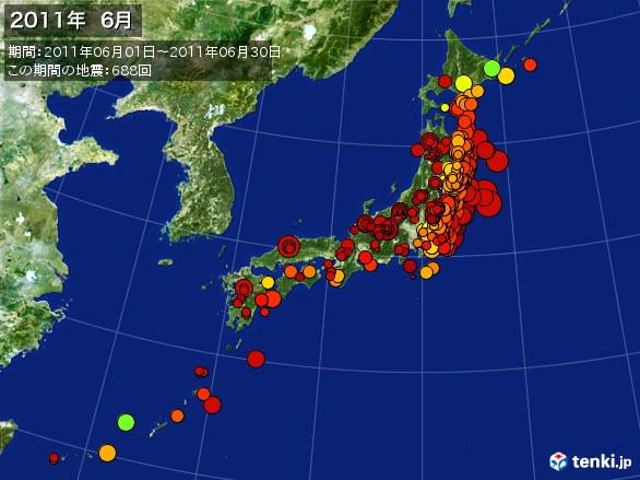 日本全体・震央分布図(2011年06月)