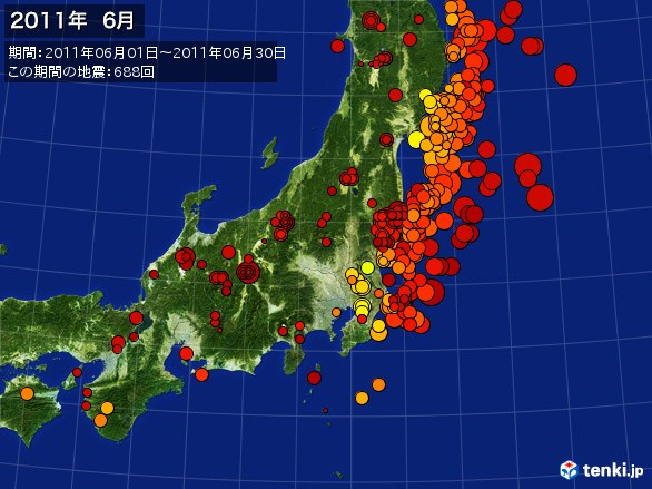 東日本・震央分布図(2011年06月)