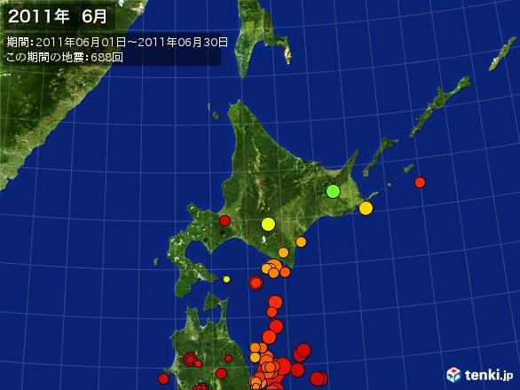 北日本・震央分布図(2011年06月)