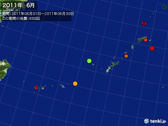 沖縄・震央分布図(2011年06月)