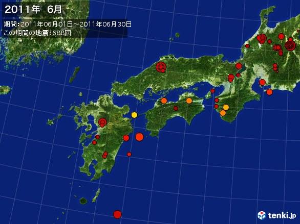 西日本・震央分布図(2011年06月)