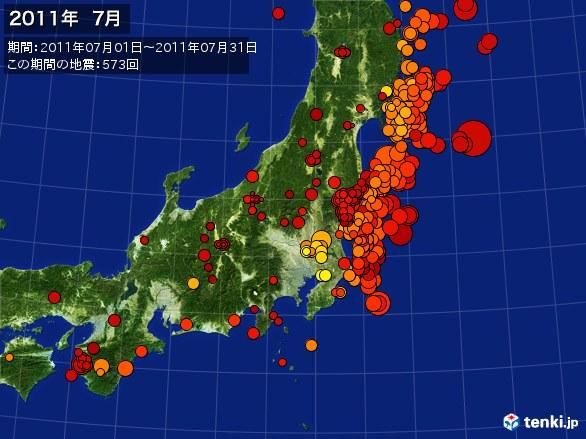 東日本・震央分布図(2011年07月)