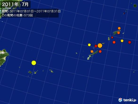 沖縄・震央分布図(2011年07月)