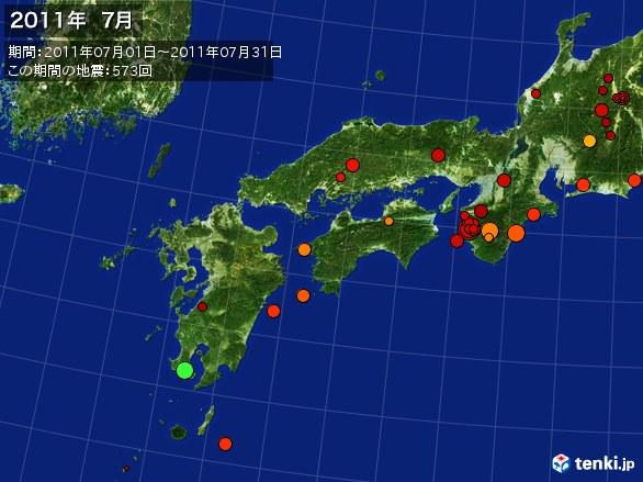 西日本・震央分布図(2011年07月)