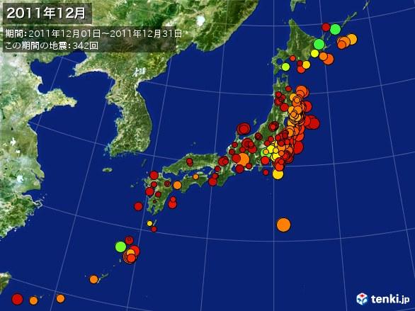 日本全体・震央分布図(2011年12月)