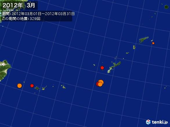 沖縄・震央分布図(2012年03月)