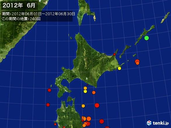 北日本・震央分布図(2012年06月)