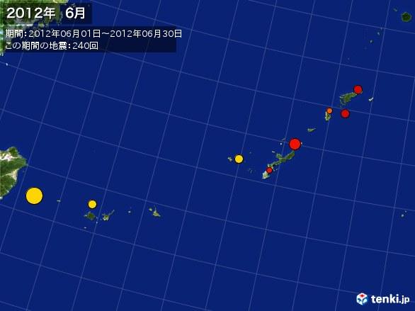 沖縄・震央分布図(2012年06月)