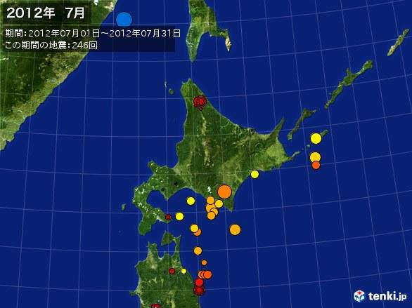 北日本・震央分布図(2012年07月)