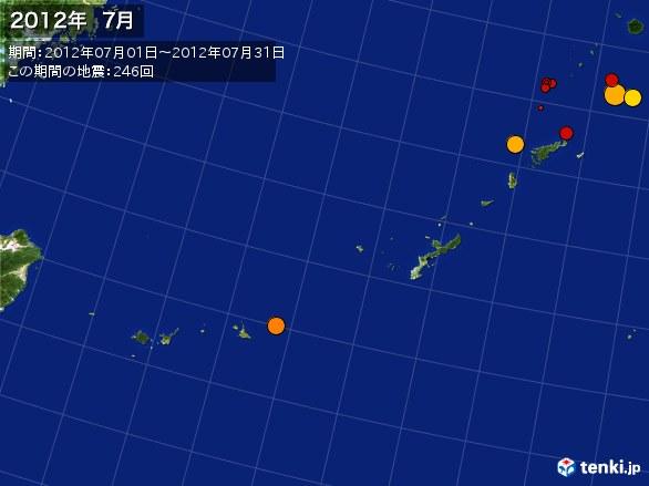 沖縄・震央分布図(2012年07月)
