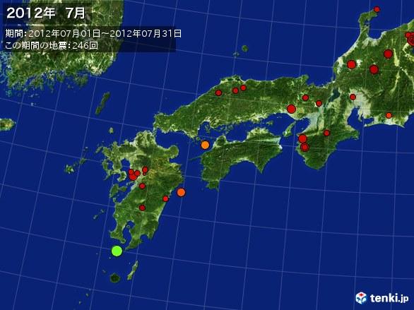 西日本・震央分布図(2012年07月)