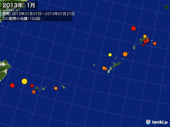 沖縄・震央分布図(2013年01月)