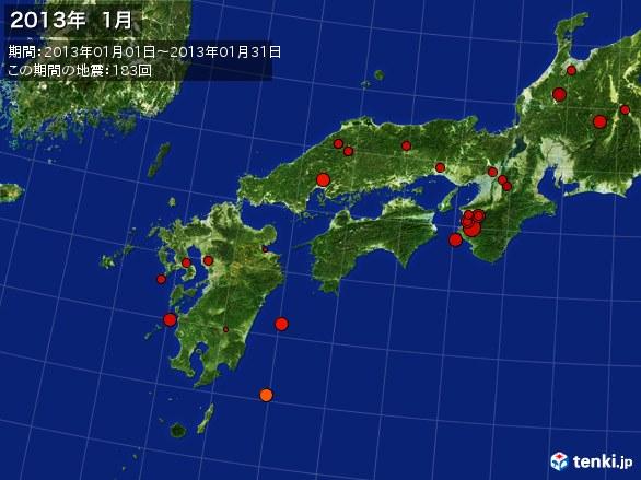 西日本・震央分布図(2013年01月)