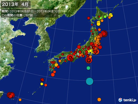 日本全体・震央分布図(2013年04月)