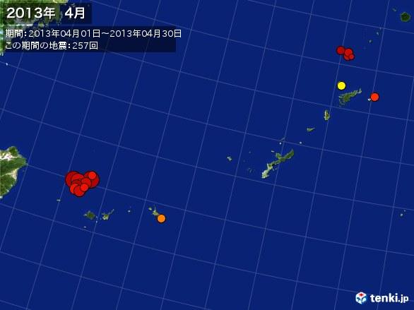 沖縄・震央分布図(2013年04月)
