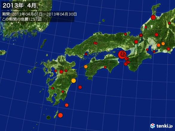 西日本・震央分布図(2013年04月)