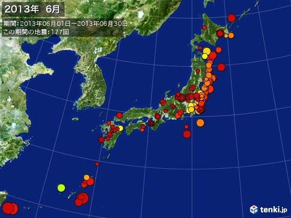 日本全体・震央分布図(2013年06月)