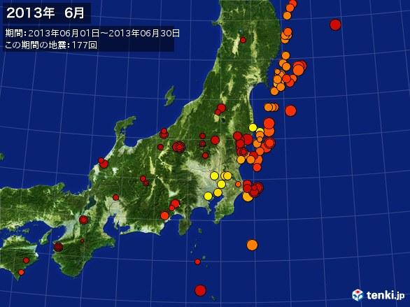 東日本・震央分布図(2013年06月)