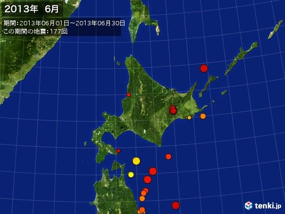 北日本・震央分布図(2013年06月)