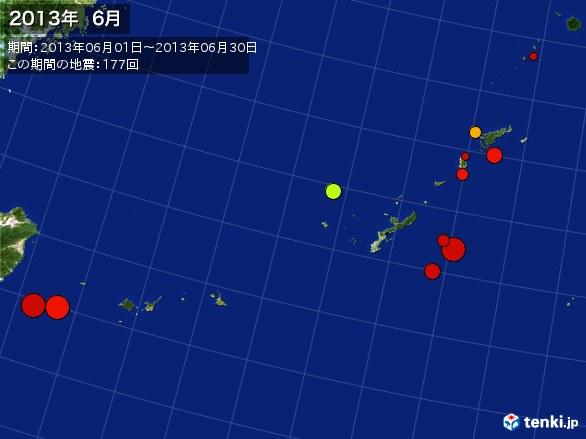 沖縄・震央分布図(2013年06月)